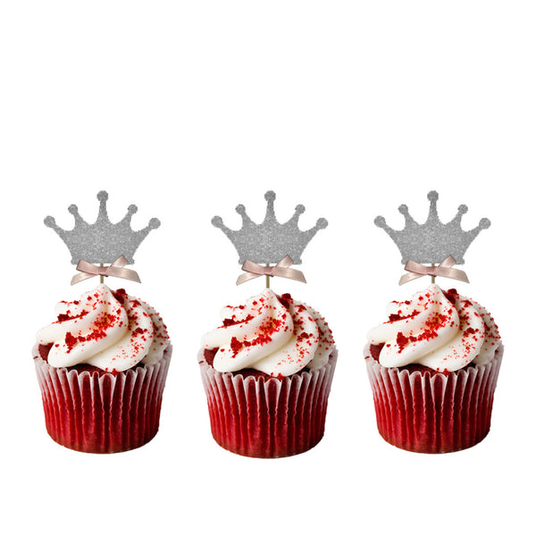 Crown Cupcake Toppers - Pack of 10 - Glittery Silver with Light Pink Bows