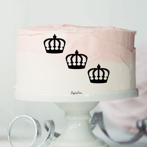 Crown Cake Motif Pack of 4 Premium 3mm Acrylic or Birch Wood