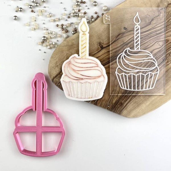 Cupcake with Candle Birthday Cookie Cutter and Embosser