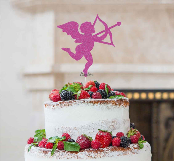 Cupid Valentine's Cake Topper Glitter Card Hot Pink