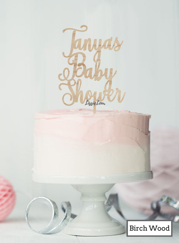 Custom Baby Shower with Name Pretty Cake Topper Premium 3mm Birch Wood
