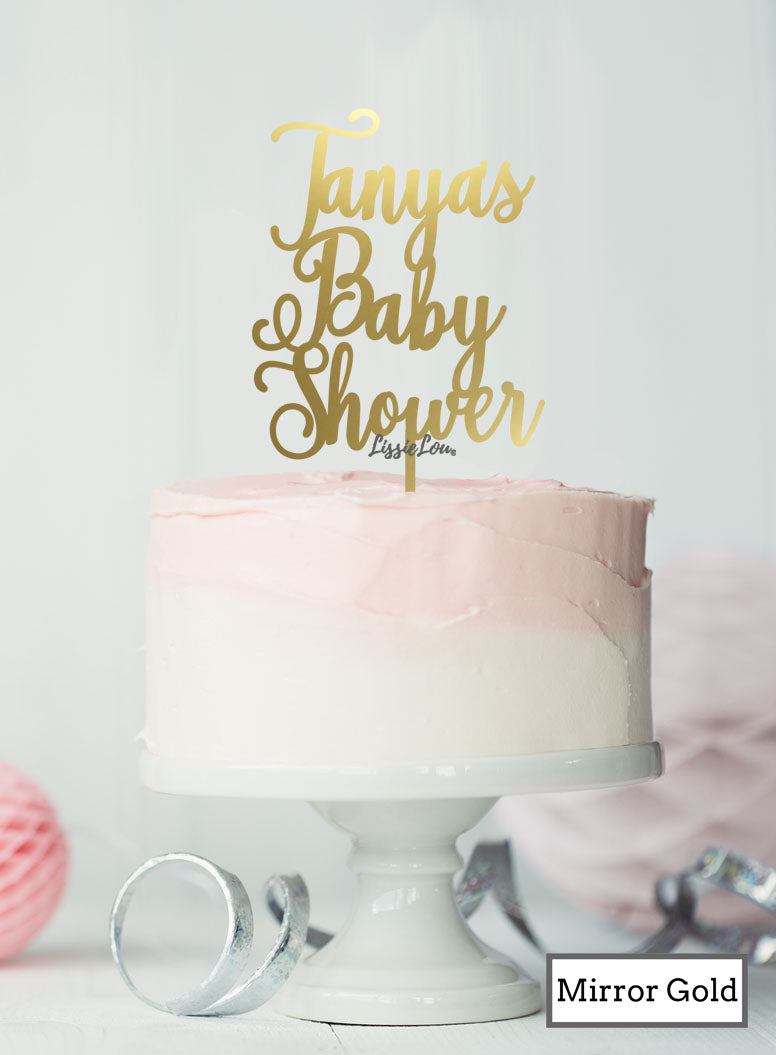 Custom Baby Shower with Name Pretty Cake Topper – LissieLou