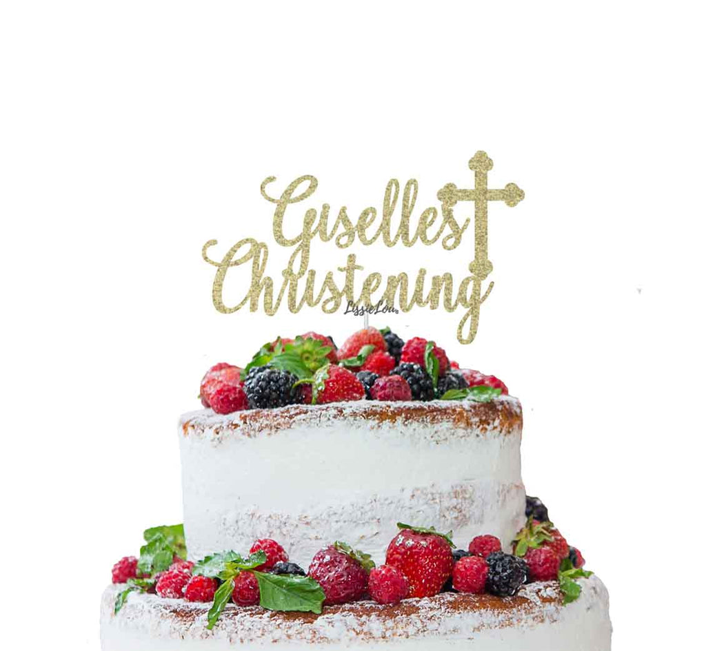 Bespoke Name Christening Pretty Font Cake Topper Gold