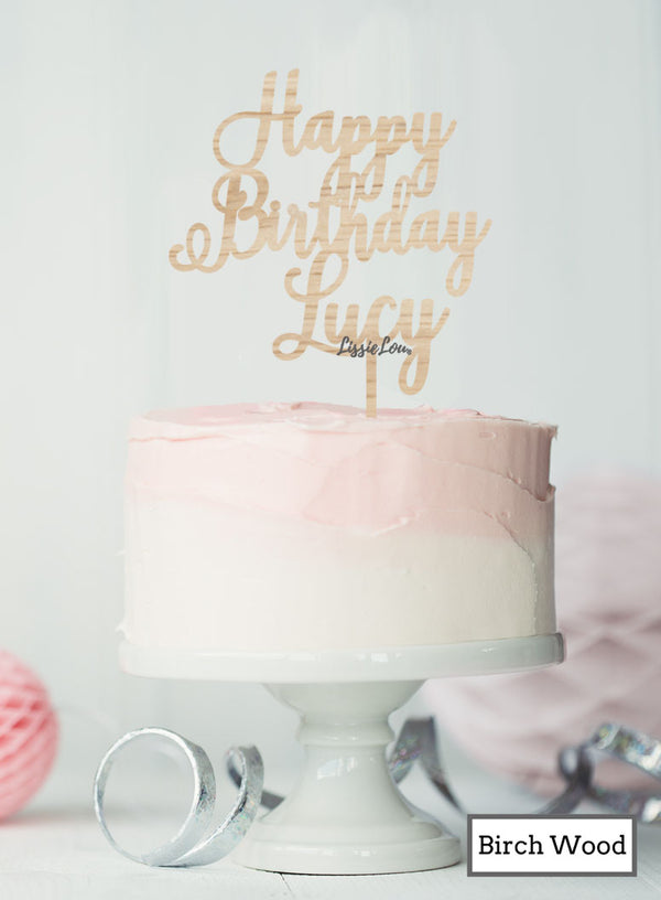 Custom Happy Birthday with Name Pretty Cake Topper Premium 3mm Birch Wood