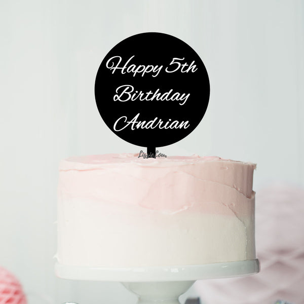 Happy 5th Birthday Andrian Font Style Name Cake Topper Premium 3mm Acrylic or Birch Wood