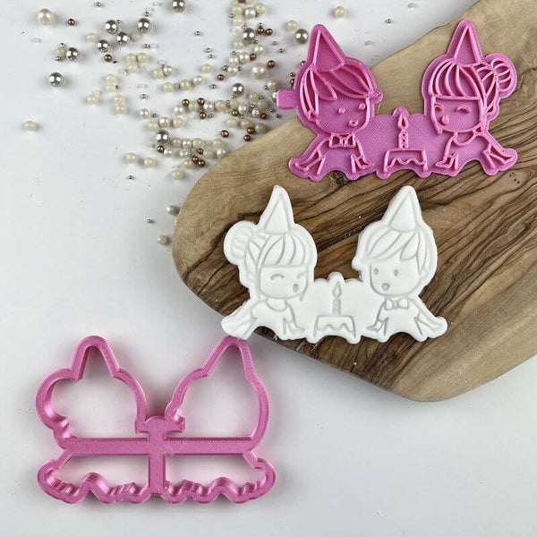 Cute Girl and Boy Birthday Cookie Cutter and Stamp