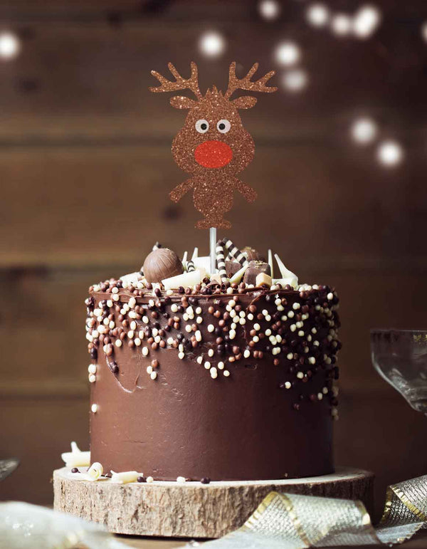 Cute Reindeer Christmas Cake Topper Glitter Card Brown
