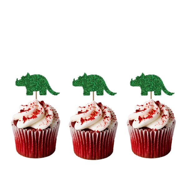 Dinosaur Cupcake Toppers - Glittery Green
