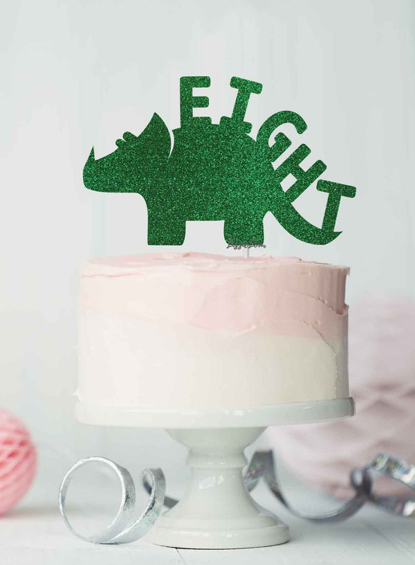 Dinosaur Eight 8th Birthday Cake Topper Glitter Card Green