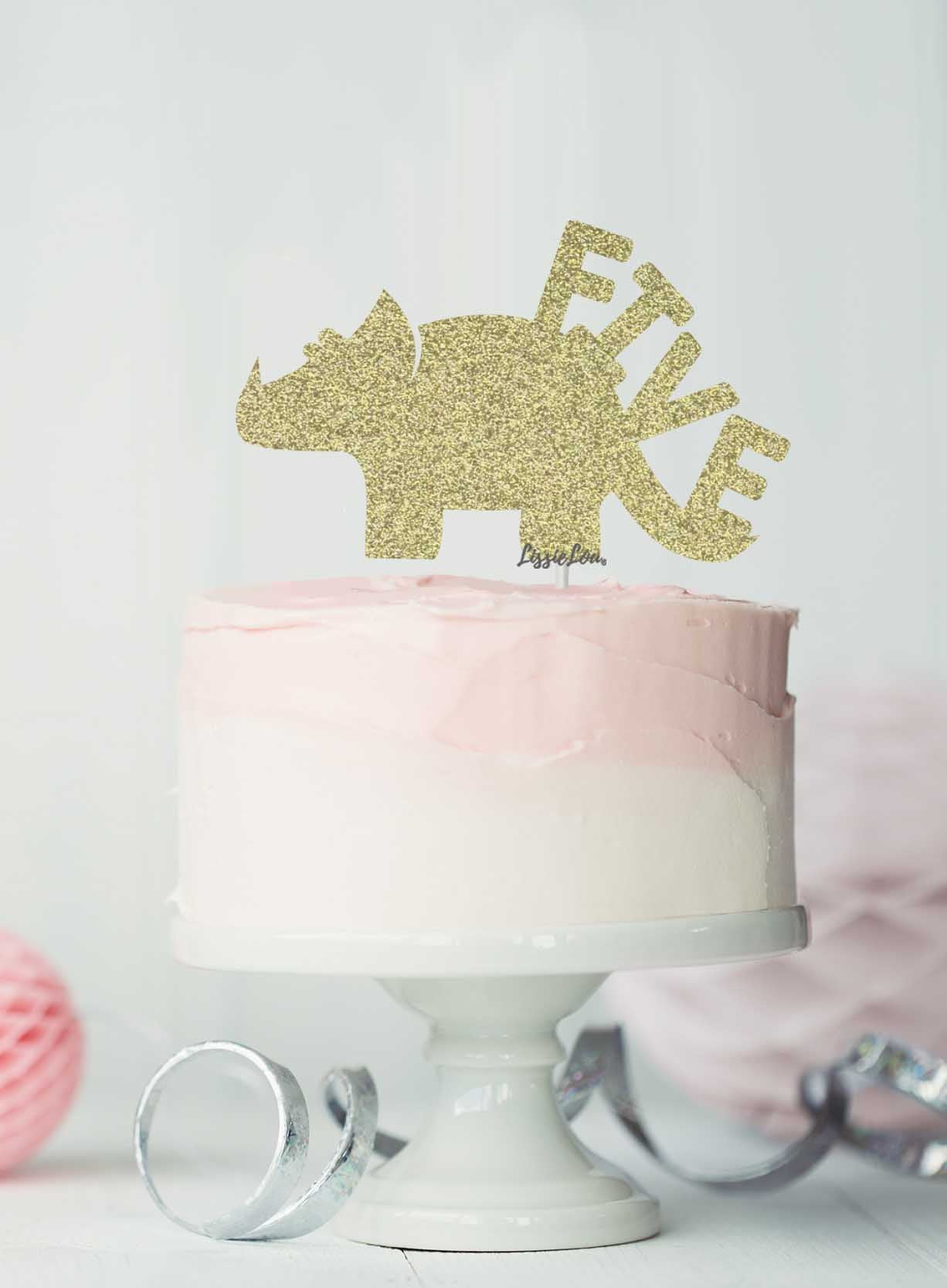 Dinosaur Five 5th Birthday Cake Topper Glitter Card Gold