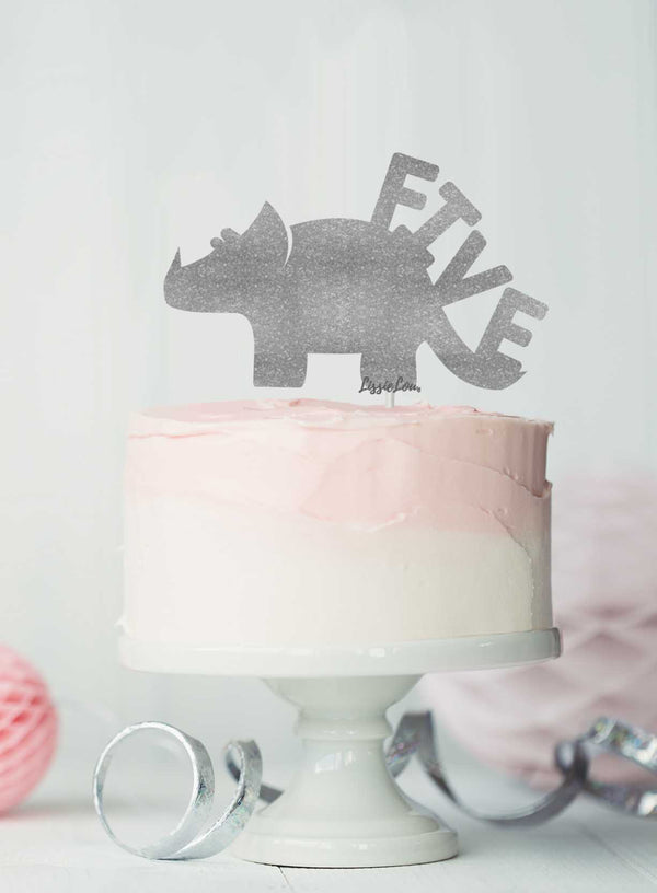 Dinosaur Five 5th Birthday Cake Topper Glitter Card Silver