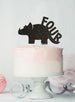 Dinosaur Four 4th Birthday Cake Topper Glitter Card Black