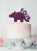 Dinosaur Four 4th Birthday Cake Topper Glitter Card Dark Purple