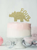 Dinosaur Four 4th Birthday Cake Topper Glitter Card Gold