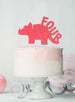 Dinosaur Four 4th Birthday Cake Topper Glitter Card Light Pink