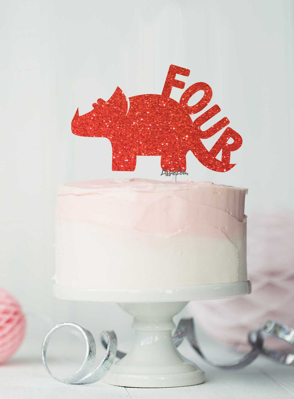 Dinosaur Four 4th Birthday Cake Topper Glitter Card Red