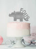 Dinosaur Four 4th Birthday Cake Topper Glitter Card Silver