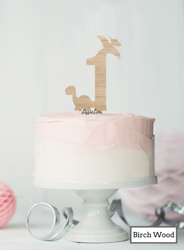 Eco Friendly Number One Dinosaur Fun Cake Topper Premium 3mm Birch Wood