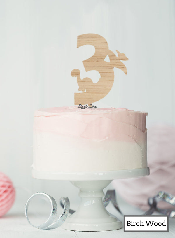 Eco Friendly Number Three Dinosaur Fun Cake Topper Premium 3mm Birch Wood