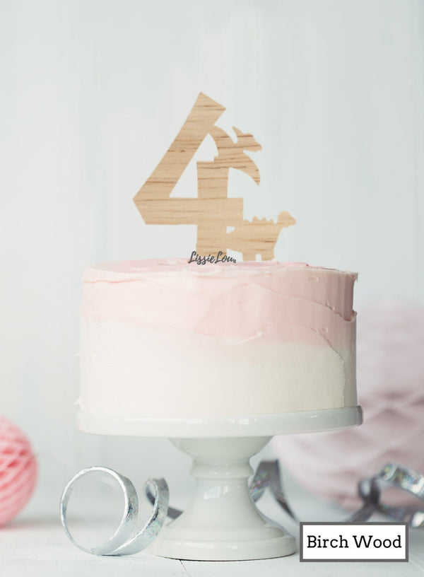 Eco Friendly Number Four Dinosaur Fun Cake Topper Premium 3mm Birch Wood