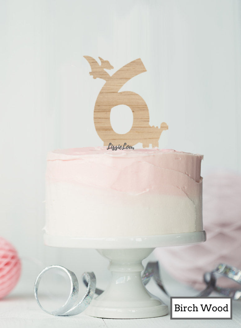 Eco Friendly Number Six Dinosaur Fun Cake Topper Premium 3mm Birch Wood