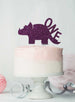 Dinosaur One 1st Birthday Cake Topper Glitter Card Dark Purple