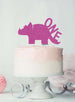Dinosaur One 1st Birthday Cake Topper Glitter Card Hot Pink
