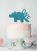 Dinosaur One 1st Birthday Cake Topper Glitter Card Light Blue