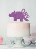 Dinosaur One 1st Birthday Cake Topper Glitter Card Light Purple