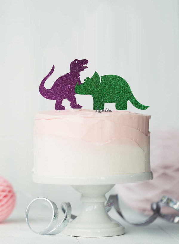 Dinosaur Set of 2 Cake Topper Glitter Card