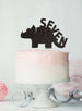Dinosaur Seven 7th Birthday Cake Topper Glitter Card Black