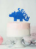 Dinosaur Seven 7th Birthday Cake Topper Glitter Card Dark Blue