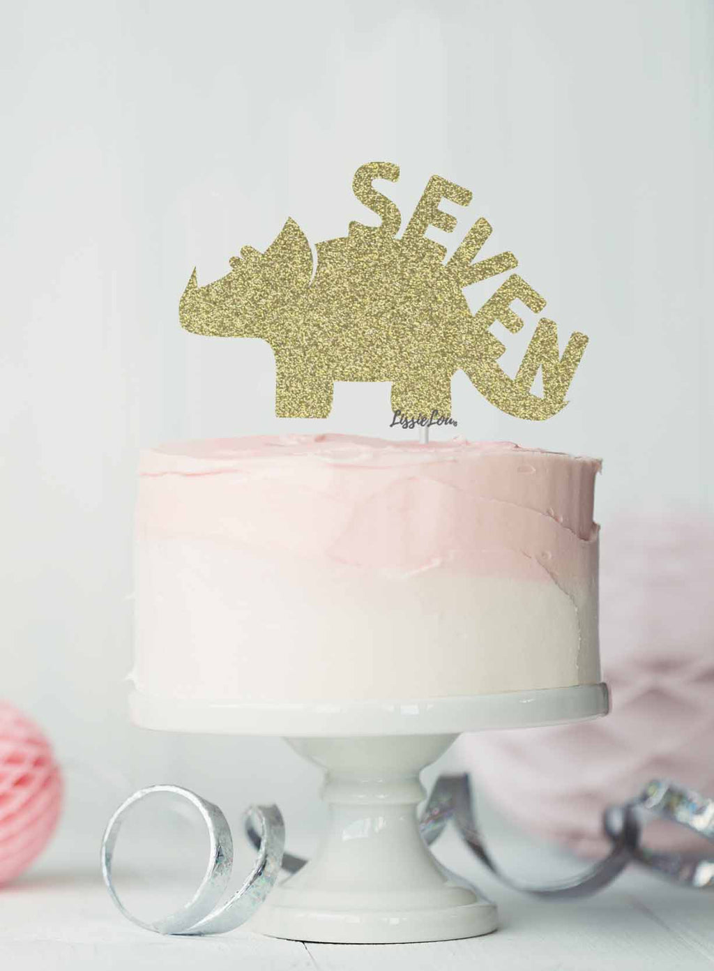 Dinosaur Seven 7th Birthday Cake Topper Glitter Card Gold