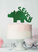 Dinosaur Seven 7th Birthday Cake Topper Glitter Card Green