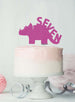 Dinosaur Seven 7th Birthday Cake Topper Glitter Card Hot Pink