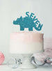 Dinosaur Seven 7th Birthday Cake Topper Glitter Card Light Blue