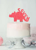 Dinosaur Seven 7th Birthday Cake Topper Glitter Card Light Pink