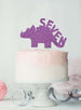 Dinosaur Seven 7th Birthday Cake Topper Glitter Card Light Purple