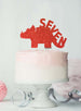 Dinosaur Seven 7th Birthday Cake Topper Glitter Card Red