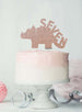 Dinosaur Seven 7th Birthday Cake Topper Glitter Card Rose Gold