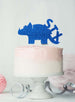 Dinosaur Six 6th Birthday Cake Topper Glitter Card Dark Blue