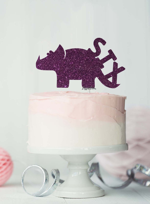Dinosaur Six 6th Birthday Cake Topper Glitter Card Dark Purple