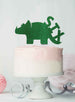 Dinosaur Six 6th Birthday Cake Topper Glitter Card Green