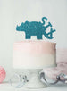 Dinosaur Six 6th Birthday Cake Topper Glitter Card Light Blue