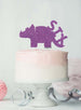 Dinosaur Six 6th Birthday Cake Topper Glitter Card Light Purple