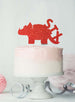 Dinosaur Six 6th Birthday Cake Topper Glitter Card Red
