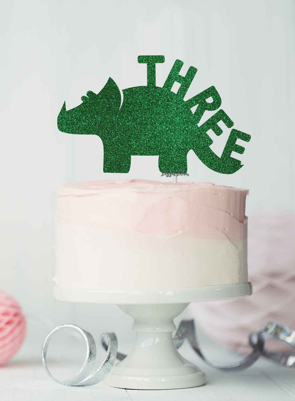 Dinosaur Three 3rd Birthday Cake Topper Glitter Card Green