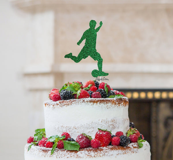 Footballer Kicking Cake Topper Glitter Card Green
