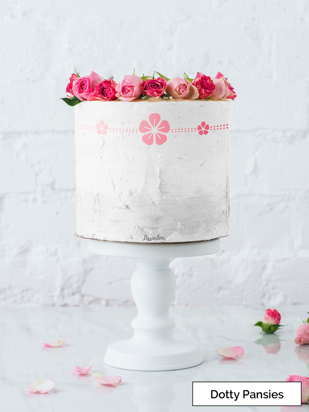 Dotty Pansies Cake Stencil - Border Design