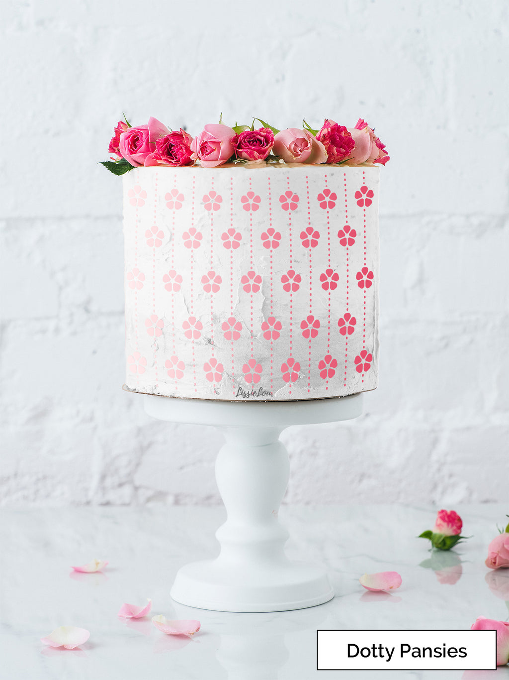 Dotty Pansies Cake Stencil - Full Size Design